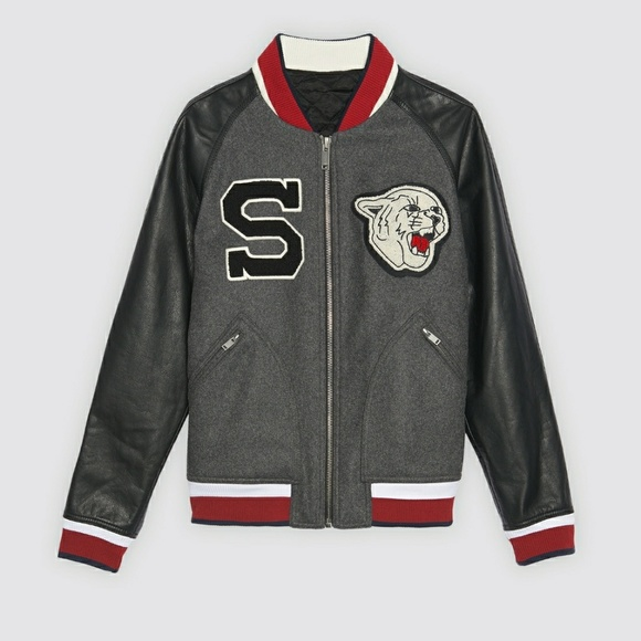 569fb8f8d NWT Sandro cougar varsity jacket coat Medium NWT